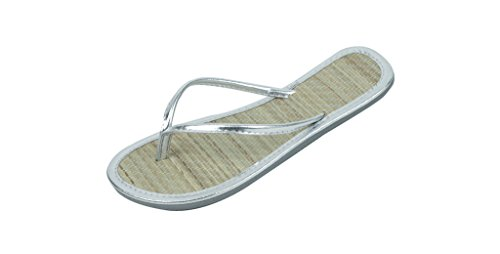 Bamboo Flip Flops Thong Sandals - SB Womens Faux Bamboo Metallic Thong Flip Flops Beach Sandals Silver 10