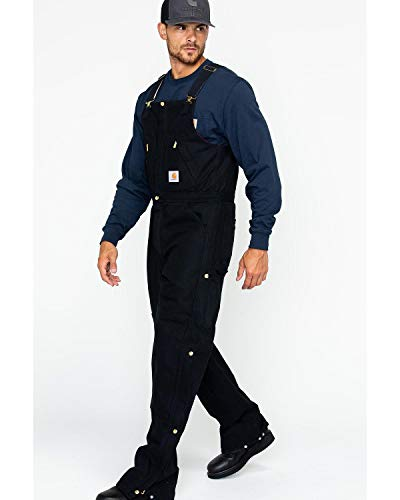 Carhartt Men's Quilt Lined Zip To Waist Biberalls,Black,38 x 30 (Best Cold Weather Work Bibs)