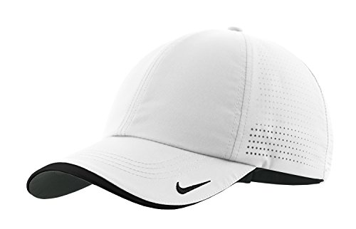 Nike Authentic Dri-FIT Low Profile Swoosh Embroidered Perforated Baseball Cap - White (Nike Sports Cap)
