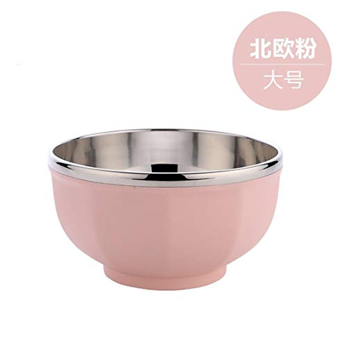 Insulated Powder Bowl - 304 Stainless Steel Bowl Double Insulated Bowl Anti-Drop Bowl Home Salad Bowl, Nordic RUIFENGSTORE (Color : A Powder)
