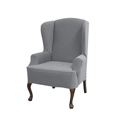 (Serta 863250 Stretch Grid Slipcover Wingback Chair, Grey)