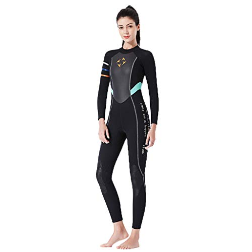 OUBAO Wetsuit for Women/Girl Diving Water Suits Swimwear Jumpsuit Surfing Swimming Diving Full Body Sets 3mm ()