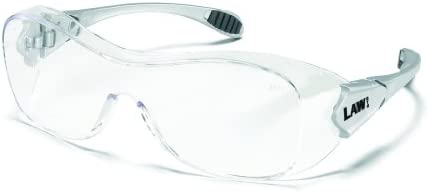Crews Law Over The Glass Polycarbonate Clear Anti-Fog Lens Safety Glasses with Hybrid Black Temple S