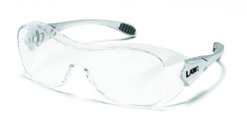 - Crews Law Over The Glass Polycarbonate Clear Anti-Fog Lens Safety Glasses with Hybrid Black Temple Sleeve