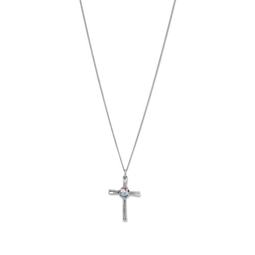 Oxidized Roman Glass Cross Pendant Necklace by MMA001