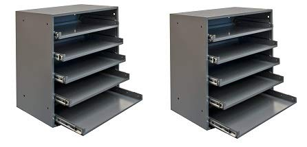 Durham 305B-95 Cold Rolled Steel Heavy Duty Triple Track Bearing Slide Rack FOR 5 Large Compartment Boxes (2-(Pack))