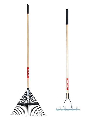 CRAFTSMAN CMXMKIT0050 2-Piece Long Wood Handle Raking Tool Set with 22 Tine Lawn Rake and Thatching Rake