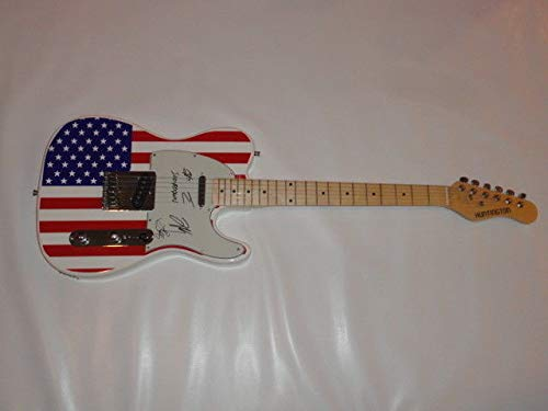 Shinedown Autographed Signed Usa Flag Electric Guitar Brent Smith All 4 Proof Tele JSA Authentic