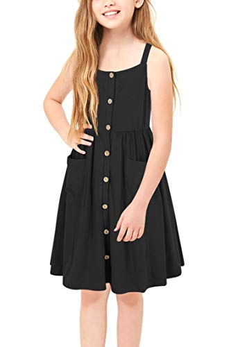 GORLYA Girl's Casual Summer Beach Sundress A-Line Spaghetti Strap Button Down Midi Dress with Pockets for 4-12 Years (GOR1018, 7-8Y, Black Color)]()