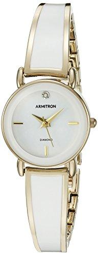 Armitron Women's 75/5363WTGP Diamond-Accented Gold-Tone and White Bangle Watch