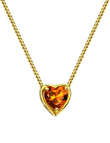 Mints 18K Gold Plated Silver Birthstone Pendant Necklace Citrine November Gemstone Heart Shape Fine Jewelry for Women