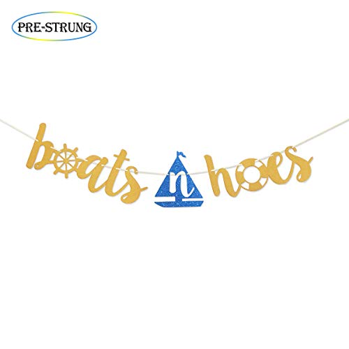 Boats N Hoes Gold Glitter Banner for Funny