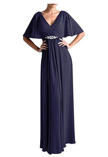 VaniaDress Women V Neck Half Sleeveles Long Evening Dress Formal Gowns V265LF Navy Blue US18W from VaniaDress