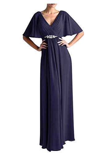 - Women's Long Chiffon Elegant Mother of The Bride Dress Gorgeous Cocktail Dress Navy Blue US16W