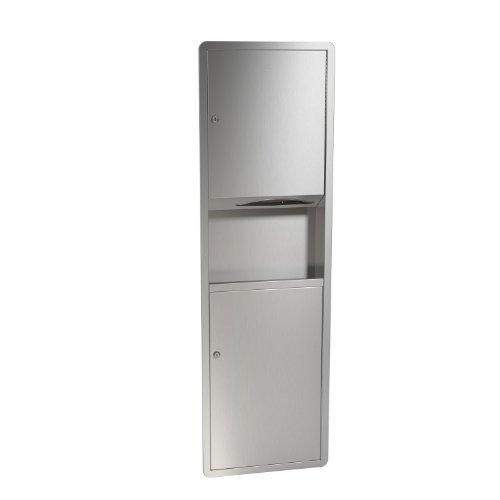 (Bradley 235-000000 Standard Stainless Steel Recessed Mounted Towel Dispenser/Waste Receptacle, 17-1/8