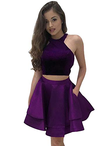 Two Dresses Short Women's DYS Dress Lace Homecoming Pieces Wedding Halter Bpurple Prom Rw65nxqX4