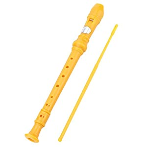 8Bees Soprano Recorder Descant Recorder Basic Musical Instrument for School (Yellow)