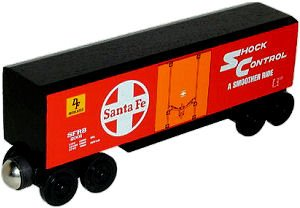 Whittle Boxcar - Whittle Shortline Railroad - Wooden Santa Fe Hi Cube Box Car Red - Item #100245 Boxcar