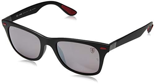 Ray-Ban RB4195MF Scuderia Ferrari Collection Asian Fit Wayfarer Sunglasses, Matte Black/Polarized Purple Silver Mirror, 52 mm