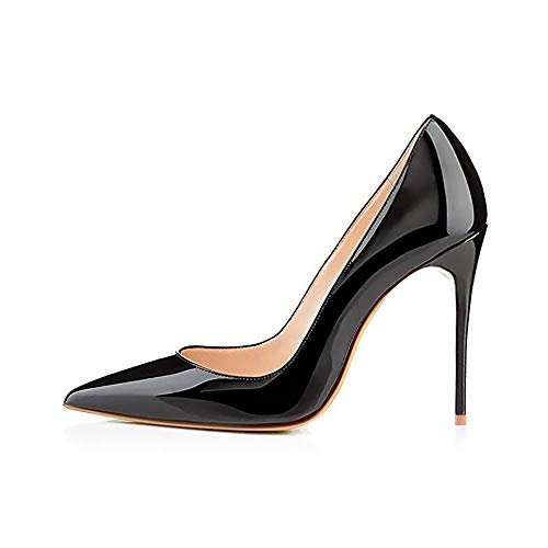 (Elisabet Tang High Heels, Women Pumps Shoes 3.94 inch/10cm Pointed Toe Stiletto Sexy Prom Club Heels BK 7 Black)