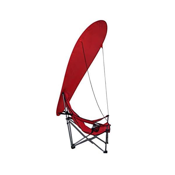 takestop® Sedia Sdraio Pieghevole Mare Campeggio Poltrona con Parasole Tenda OMBREGGIANTE Struttura Alluminio Rosso per… 2 spesavip