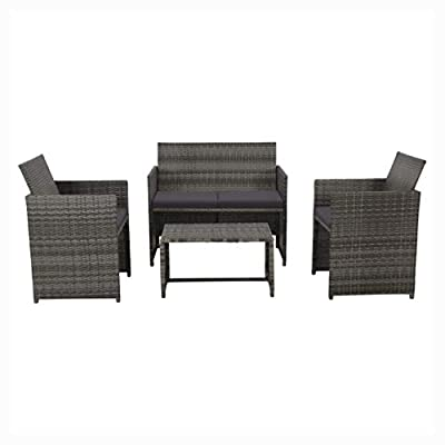 K&A Company Outdoor Furniture Set, 4 Piece Garden Lounge with Cushions Set Poly Rattan Gray