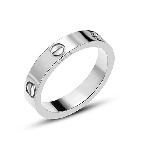 O-HIILILI Silver Love Screw Ring Engagement Wedding Couples Band Titanium Stainless Steel Size 8 by O-HIILILI