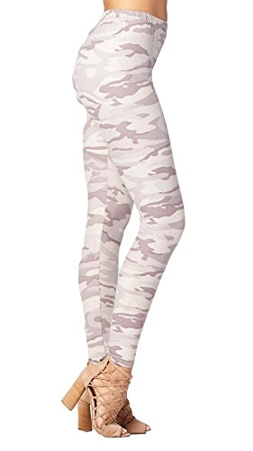 Conceited Premium Ultra Soft Printed Leggings - High Waist Butter Leggings - (XS-L Size 0-12) (Small/Medium (0-12), Camo Lilac Grey) Pink Floral Leggings