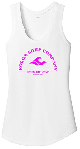 Neon Logo Heathered T-shirt - Koloa Surf Ladies Living The Wave RacerbackTank Top-XS-White/Pink