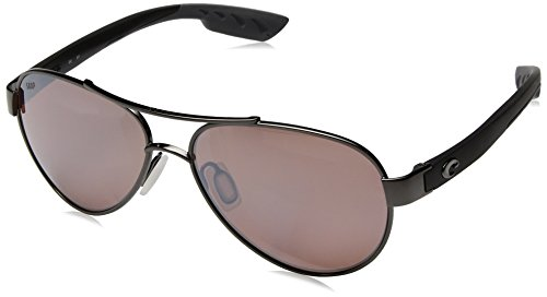 Costa del Mar Women's Loreto Polarized Iridium Aviator Sunglasses, Gunmetal w/Black, 56.5 - Sunglasses Stream
