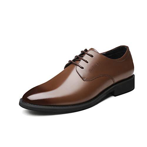 Caminar Zapatillas Deporte Sin Zapatos Brown Cuero Mocasines Hombres De Para Cordones Moda qHBB4gW