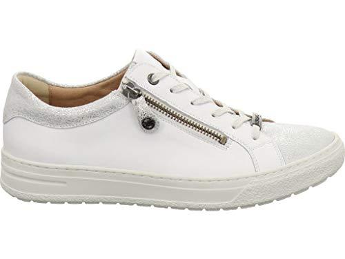 Blanco Mujer Lisa Piel Cordones Zapatos Hartjes Para De na1ffg