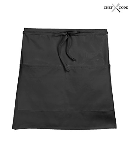 Chef Code Waist Server / Waitress Restaurant Aprons with 2 Pockets (1-100 Packs) (10, Black)