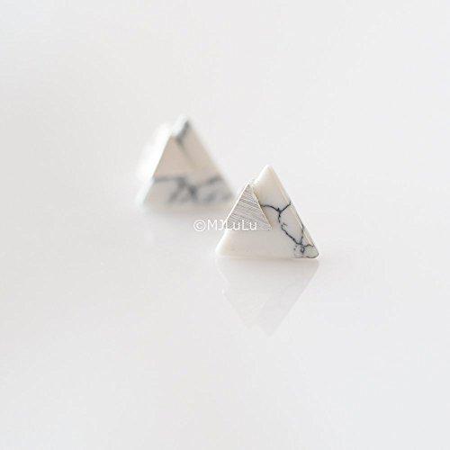 Silver Chevron Triangle Geometric Marble Stud Earrings