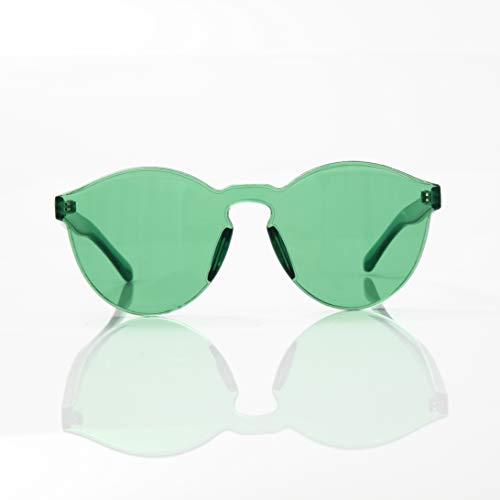 OLINOWL Rimless Sunglasses Oversized Colored Transparent Round Eyewear Retro Eyeglasses for Women ()