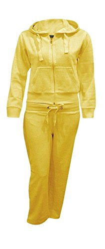 Shelikes Kids Girls Hooded Velour Comfortable Pocket Zip Plus Size Active Jogging Lounge Top Bottom Suit Sweatpants Tracksuit_Yellow_13-14