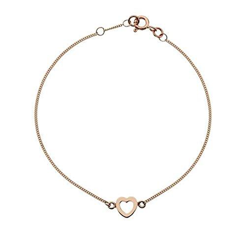 Or 9carats Cœur Rouge/rose collection silhouette 17,8cm Bracelet