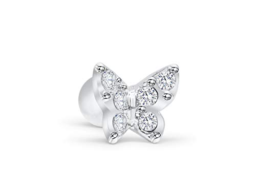 ONDAISY Rhodium Plated Simulated Diamond Stone Animal Butterfly Ear Stud Earring ()