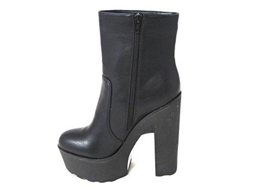Damen-Plateau-Schuhe mit Blockabsatz, rutschhemmender Sohle und Knöchelriemen, mit Reißverschluss, in den Größen 35, 37, 38, 39, 40, 42,verschiedene Designs Black Side Zip Boot