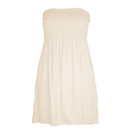 New Top Gather Cream Mini Dress stampato Plain Sheering Ladies Janisramone Boobtube Flared Ladies Bandeau Summer qzEZgO