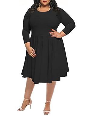WFTBDREAM Womens Plus Size 3/4 Sleeve O-Neck Wasp-Waisted Midi Dress XL-4XL