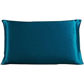uxcell 100% Pure Mulberry Charmeuse Silk Pillowcase Pillow Case Cover for Hair & Skin Beauty 19 Momme Queen Size 20x30 Inch/51x76cm Peacock Blue (1-Piece)