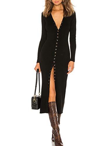 Black Button Front Dress - cmz2005 Women's Button Down Long Sleeve Dress Bodycon Party Maxi Dress 6088 (M, Black)