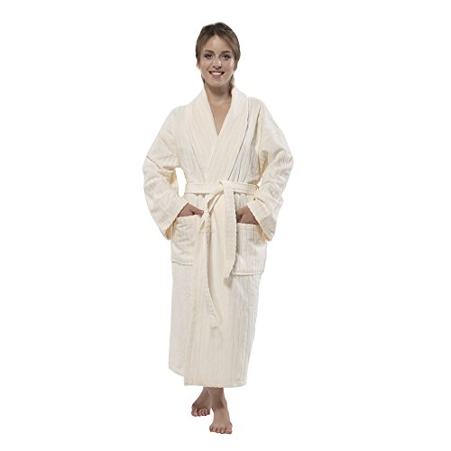 100% Turkish Cotton Frette Striped Velour Shawlcollar Women's Bathrobe by Chesme (Medium, Ivory)