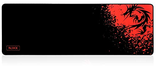 NJHX Large Gaming Mouse Pad(35.4 x11.8 inch 4mm Thick) Red Dragon Extended Mouse Mat with Non-Slip Rubber Base, Keyboard Pad Waterproof Gaming Mouse Mat with Smooth Surface and Stitched Edges