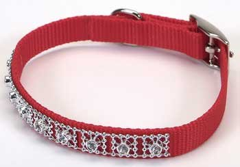 Jeweled Dog Collar - 14 in. Red with Swarovski Crystal Jewels with a Width of 5/8 in.
