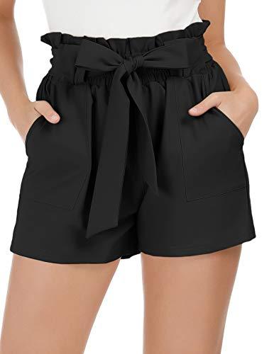 GRACE KARIN Women Fashion Casual High Waist Loose Shorts with Belt XL Black (Shorts Para Mujer)