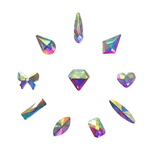 Ab Crystal Bead (ULGAI Crystal AB Rhinestones (100pcs), Mixed Rhinestone for Crafts with Gold Plating Flat Back, Precisely Cut AB Crystal Glass Beads for Nails, Clothes, Face, Jewelry | Aurora Borealis,10 Shapes)