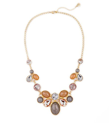 Habeats Champagne and Grey Crystal Beads Jeweled Flower Fashion Statement Necklace 18 Inch