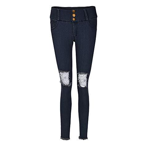 Nappa Ginocchio Donna Stretch Vitello Scuro Magro Buco Basso donna A Casuale Blu Pulsante Moda Jeans Inferiore Lqqstore jeans Pantaloni Vita 4fzw66